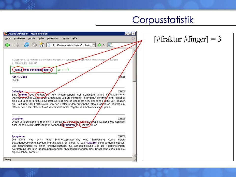 Corpusstatistik [#fraktur #finger] = 3 w = 4
